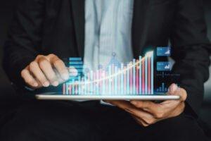 businessman analyzing mutual fund