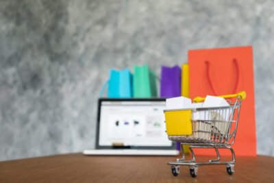 laptop shopping bags online shopping concept