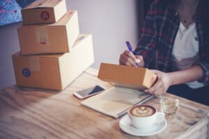 business owner work home box delivery