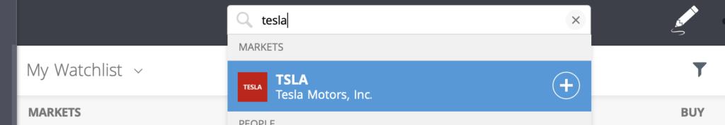 Tesla stock etoro